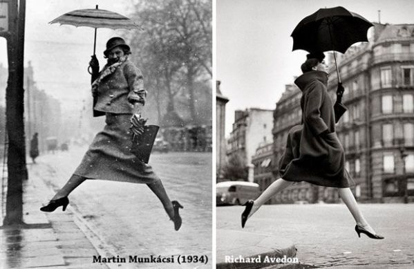 Left: Martin Munkácsi (1934) Right: Homage to Munkácsi by Richard Avedon (1957)