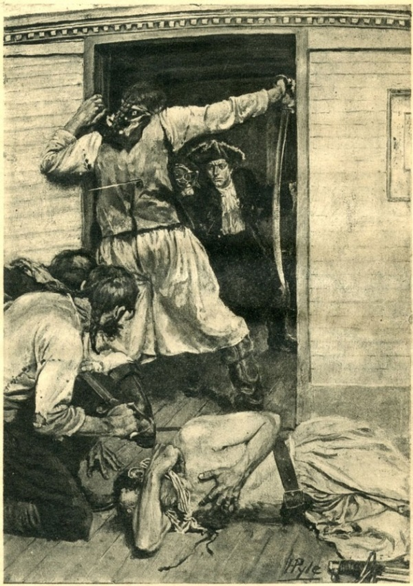 """I saw him pass his sword through the mate's body"" by Howard Pyle (1895)"