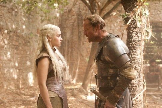 Photo of Emilia Clarke as Daenerys Targaryen arguing with her loyal servant Ser Jorah Mormont (Ian Glen) in HBO's 'Game of Thrones' broadcast on Sky Atlantic © HBO