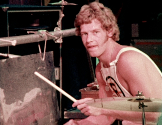 Bill Bruford drumming with King Crimson in New York, 1973