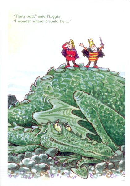 Noggin and Thor Nogson atop the Ice Dragon. Artwork: Peter Firmin