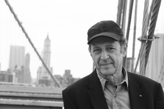 Photo of Steve Reich against the New York skyline