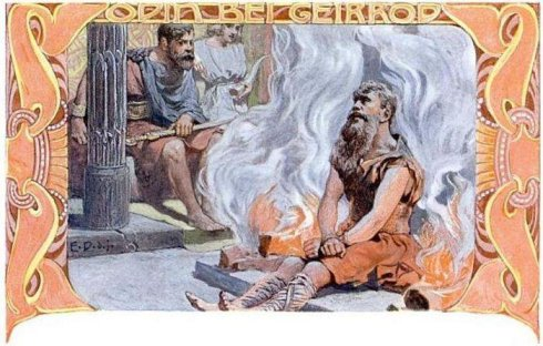 Odin tied between fires in King Gerrad's castle (Image: Emil Doepler. Public domain)