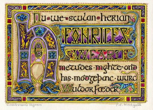 Modern iIlluminated manuscript-style illustration of Caedmon's Hymn by PC Hodgell