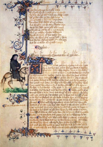 "A picture of Chaucer as a pilgrim from the Ellesmere Manuscript of the Canterbury Tales. In the middle of the page are the words: ""Heere Bigynneth Chaucers Tale of Melibee"""