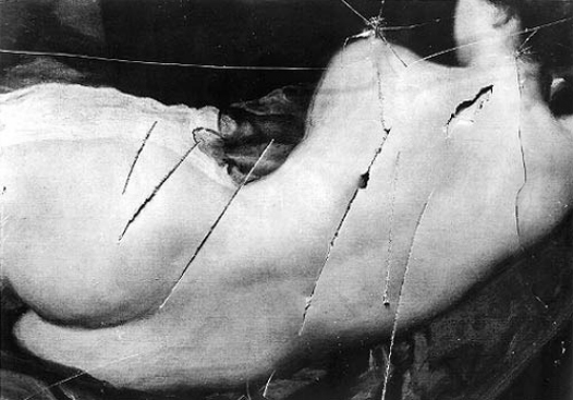 Photo of the Rokeby Venus showing the slashes made in it by suffragette Mary Richardson in 1914