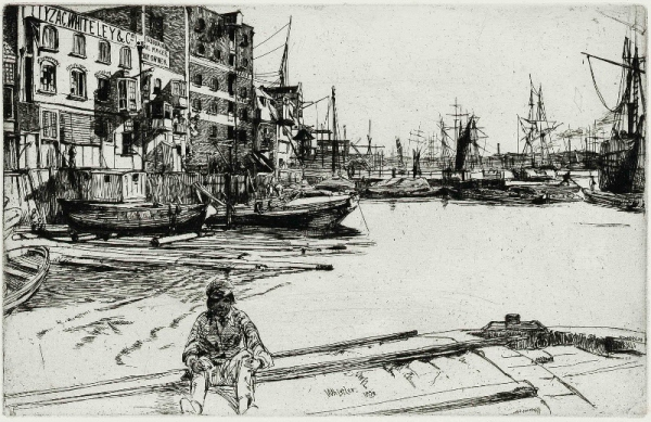 Eagle Wharf, from 'A Series of Sixteen Etchings of Scenes on the Thames', 1859, Published 1871, by James Abbott McNeill Whistle