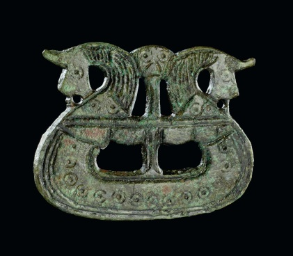 Brooch shaped like a ship, 800-1050. Tjornehoj II, Fyn, Denmark. Copper alloy. Copyright of The National Museum of Denmark