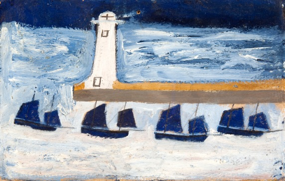 Alfred Wallis, Four Luggers and a Lighthouse, c. 1928, Oil on card, 16.5 x 26 cm, Private Collection, on loan to mima, Middlesbrough Institute of Modern Art