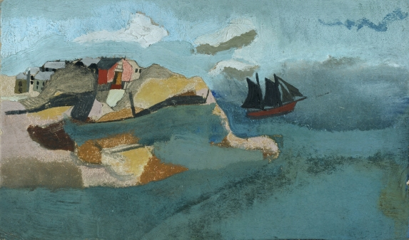 Ben Nicholson, c.1930 (Cornish Port), oil on card, 21.5 x 35 cm, Courtesy of Kettle's Yard, University of Cambridge/ © Angela Verren-Taunt 2013. All rights reserved, DACS