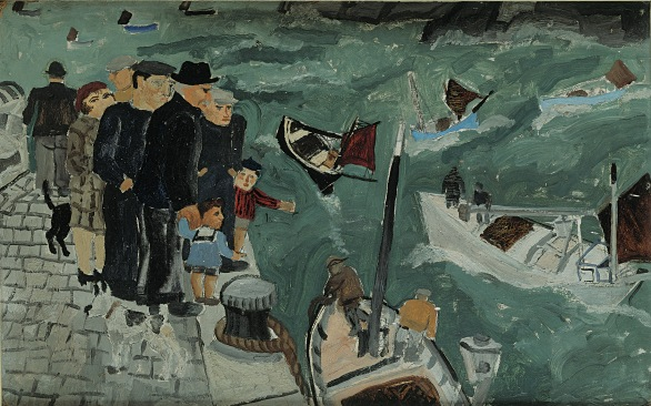 Christopher Wood, Herring Fisher's Goodbye, Oil on board, 37 x 59 cm, 1928, Private Collection