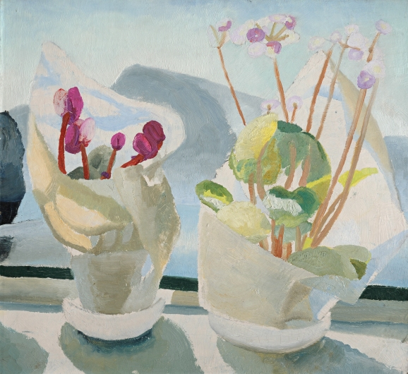 Winifred Nicholson, Cyclamen and Primula, c.1922-3, oil on board, 50 x 55 cm, Courtesy of Kettle's Yard, University of Cambridge/ © Trustees of Winifred Nicholson
