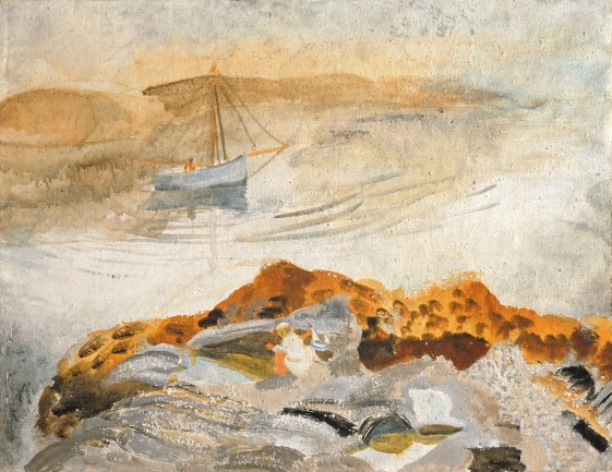 Winifred Nicholson, Seascape with Two Boats, 1926, Oil on Canvas, 82.5 x 101.7cm, Courtesy of Kettle's Yard, University of Cambridge ©Trustees of Winifred Nicholson