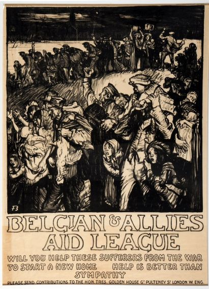 'The Retreat from Antwerp' poster by Frank Brangwyn, lithograph 1915-1916: copyright David Brangwyn