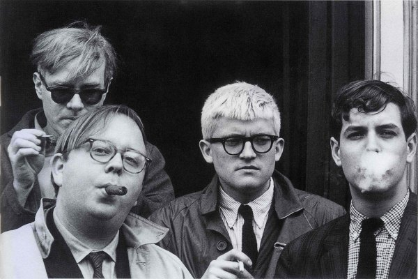 Andy Warhol, Henry Geldzahler, David Hockney and Jeff Goodman (1963) by Dennis Hopper © Dennis Hopper, courtesy The Hopper Art Trust