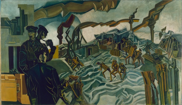 A Battery Shelled (1919) by Percy Wyndham Lewis ©IWM