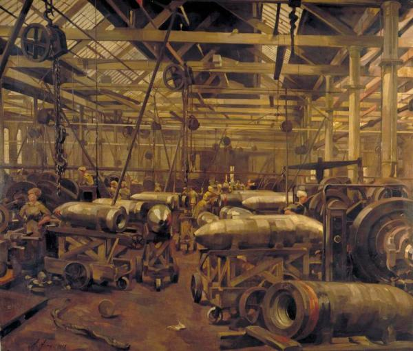 ©IWM ART 2271 Shop for Machining 15-inch Shells: Singer Manufacturing Company, Clydebank, Glasgow (1918) Anna Airy Oil on canvas