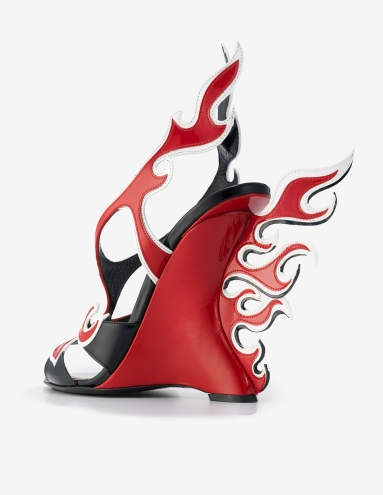 Prada. Wedge Sandal in Rosso, Bianco, and Nero Leather, Spring/Summer 2012. Courtesy of Prada USA Corp. Photo: Jay Zukerkorn