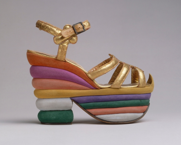 Salvatore Ferragamo (Italian, 1898–1960). Platform Sandal, 1938. Leather, cork. The Metropolitan Museum of Art, New York, Gift of Salvatore Ferragamo, 1973 (1973.282.2). Image copyright © The Metropolitan Museum of Art. Image source: Art Resource, NY