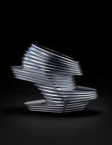 "Zaha Hadid X United Nude. ""NOVA,"" 2013. Chromed vinyl rubber, kid napa leather, fiberglass. Courtesy of United Nude. Photo: Jay Zukerkorn. Chromed vinyl rubber, kid napa leather, fiberglass. Courtesy of United Nude. Photo: Jay Zukerkorn"