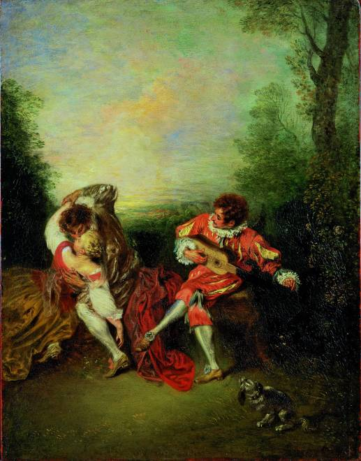 Jean-Antoine Watteau  La Surprise: A Couple Embracing While a Figure Dressed as mezzetin Tunes a Guitar, 1718-19  Oil on panel, 36.3 x 28.2 cm  Private Collection  Photo: Private Collection