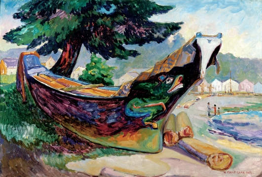 Emily Carr, Indian War Canoe (Alert Bay), 1912, Oil on cardboard (The Montreal Museum of Fine Arts, Purchase, gift of A. Sidney Dawes)