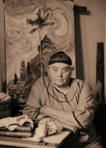 Harold Mortimer-Lamb, Emily Carr in Her Studio, 1939, silver gelatin print, (Promised Gift to the Vancouver Art Gallery from Claudia Beck and Andrew Gruft)