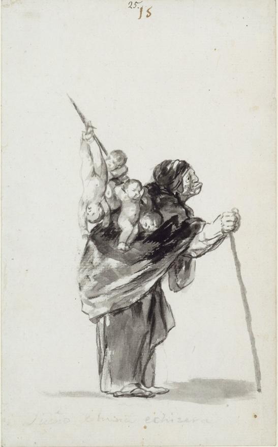 Sueno de buena echizera (Dream of a good witch) by Francisco Goya. 'Witches and Old Women' Album (D), page 15 c. 1819-23. Brush, black and grey ink. Berlin, Staatliche Museen zu Berlin Preussischer, Kulturbesitz, Kupferstichkabinett, kdz 4396