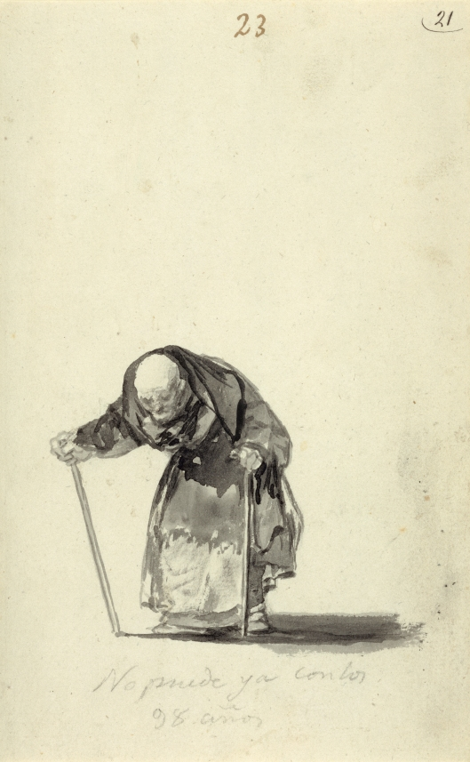 No puede ya con los 98 anos (Just can't go on at the age of 98) by Francisco Goya. 'Witches and Old Women' Album (D), page 23. c. 1819-23 Brush, black and grey ink. Los Angeles, The J. Paul Getty Museum, 84.GA.646