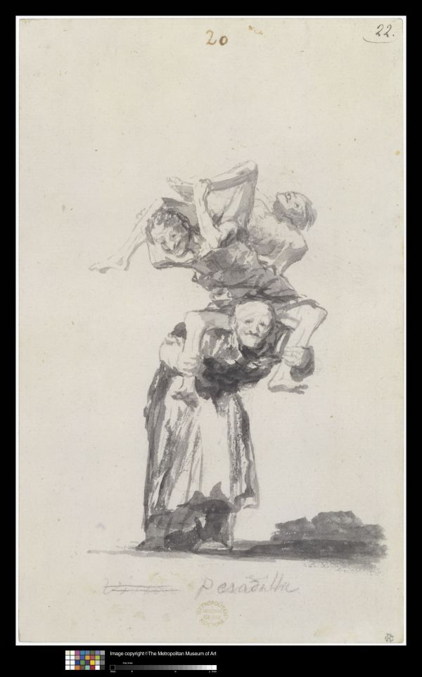 Pesadilla (Nightmare) by Francisco Goya. 'Witches and Old Women' Album (D), page 20. c. 1819-23. Brush, black and grey ink. New York, The Metropolitan Museum of Art, Rogers Fund, 19.27