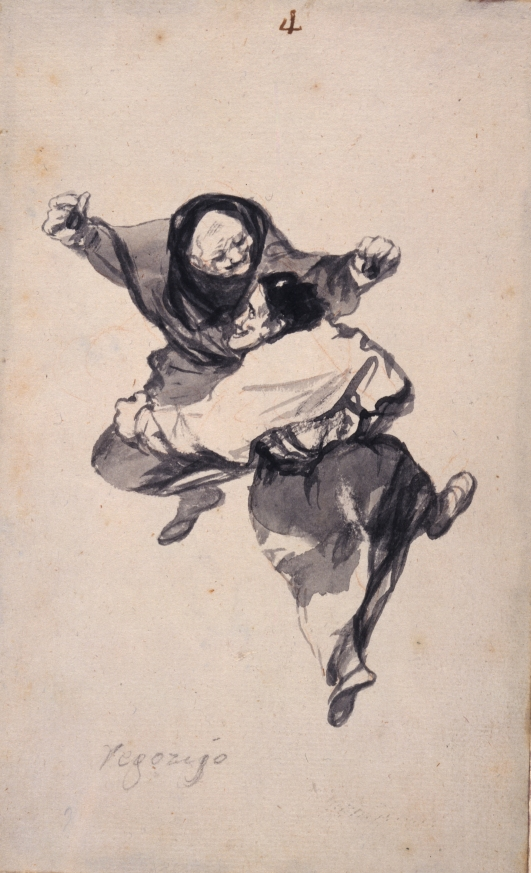 Regozijo (Mirth) byFrancisco Goya. 'Witches and Old Women' Album (D), page 4 c. 1819-23. Brush, black and grey ink with traces of red chalk and scraping. New York, The Hispanic Society of America, A 3308