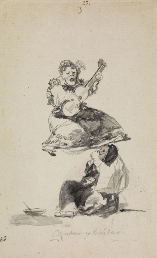 Cantar y Bailar (Singing and dancing) by Francisco Goya. 'Witches and Old Women Album' (D), page 3. c. 1819-23. Brush and black and grey ink with scraping. London, The Courtauld Gallery, Samuel Courtauld Trust, D. 1978, PG256