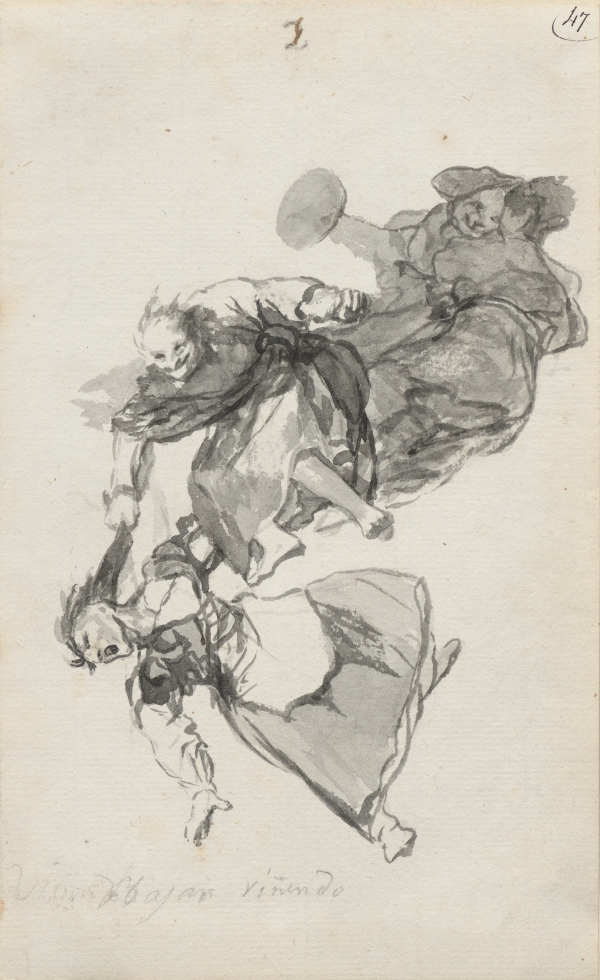 Bajan riñendo, (They descend quarrelling) by Francisco de Goya. 'Witches and Old Women' Album (D), page 1 c. 1819-23. Brush, black and grey ink. Private Collection