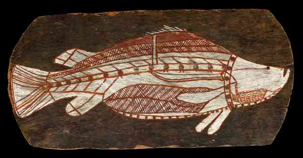 Bark painting of a barramundi.  Western Arnhem Land, about 1961  © The Trustees of the British Museum.