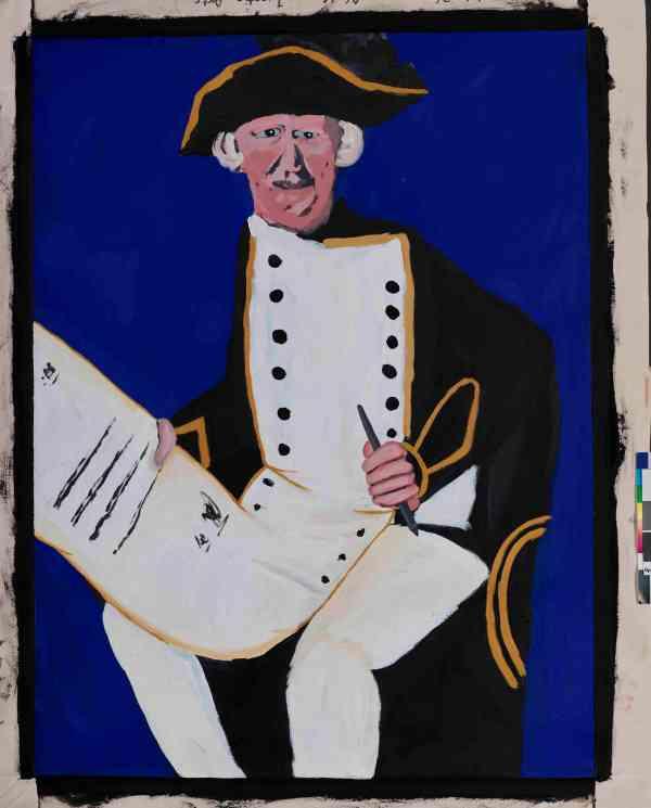 James Cook - with the Declaration; Vincent Namatjira (b.1983) South Australia (2014) Acrylic on canvas © Vincent Namatjira