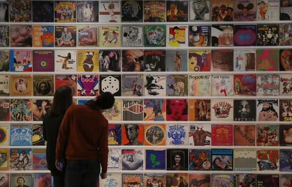 Magnificent Obsessions: The Artist as Collector Dr Lakran's record covers Barbican Art Gallery 12 Feb – 25 May 2015  © Peter MacDiarmid / Getty Images