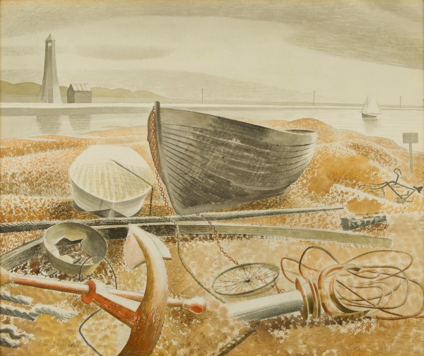 Eric Ravilious, Anchor and Boats, Rye, 1938, Watercolour and pencil on paper, Private Collection
