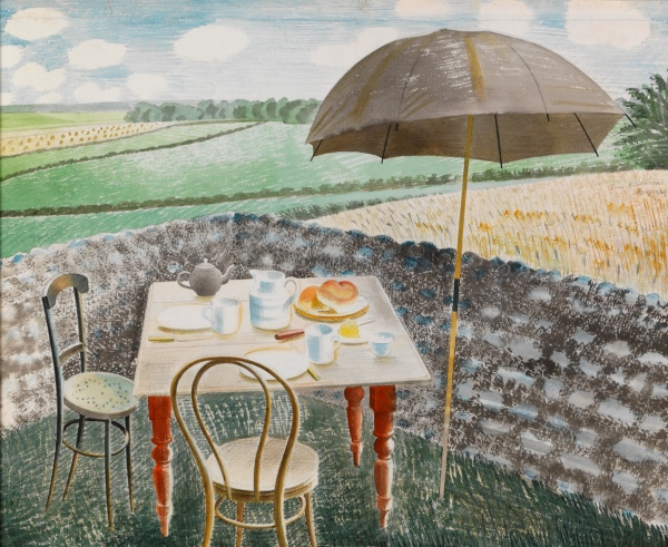 Eric Ravilious, Tea at Furlongs, 1939, Watercolour and pencil on paper, The Fry Art Gallery
