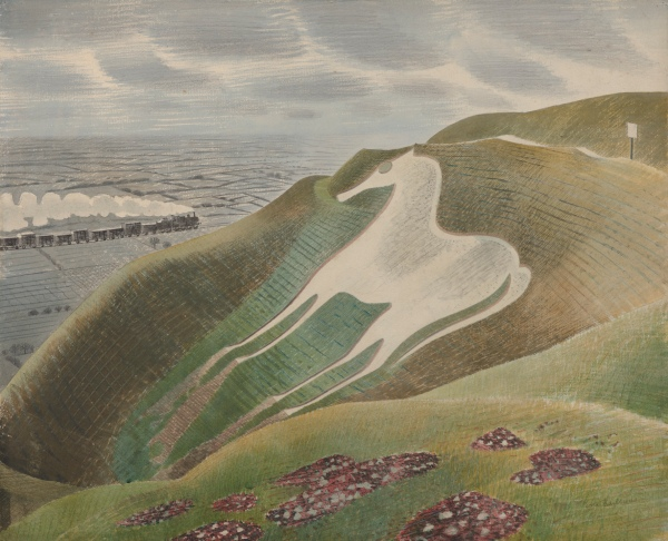 Eric Ravilious, The Westbury Horse, 1939, Watercolour and pencil on paper, Private Collection, on long term loan to Towner, Eastbourne.