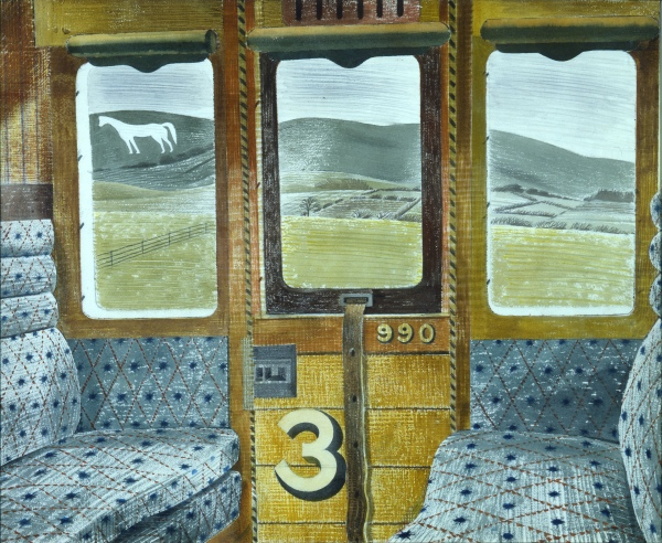 Eric Ravilious, Train Landscape, 1940, Watercolour and pencil on paper, Aberdeen Art Gallery & Museums Collections