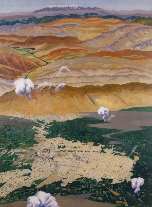 ©IWM (Art.IWM ART 3082) Damascus and the Lebanon Mountains from 10,000 Feet by Richard C. Carline, 1920 Oil on canvas