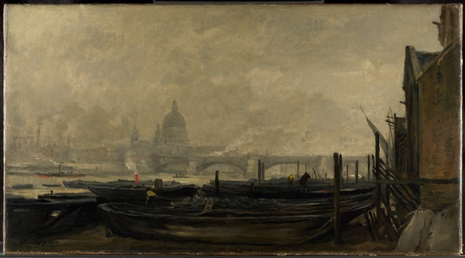 Charles-François Daubigny St Paul's from the Surrey Side (1871-3) Oil on canvasThe National Gallery, London Presented by friends of Mr. J.C.J. Drucker, 1912 © The National Gallery, London