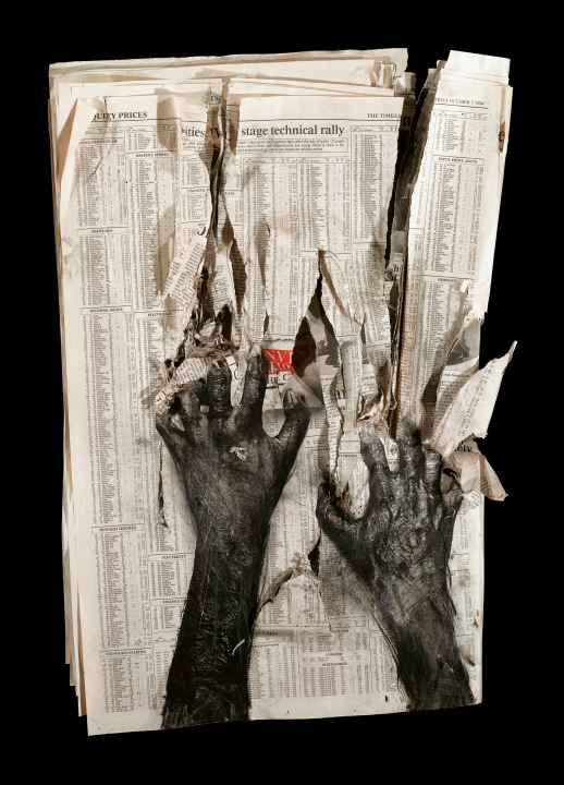 ©Peter Kennard Newspaper 1 (1994) Carbon toner, oil, charcoal, pastel on newspaper, wood