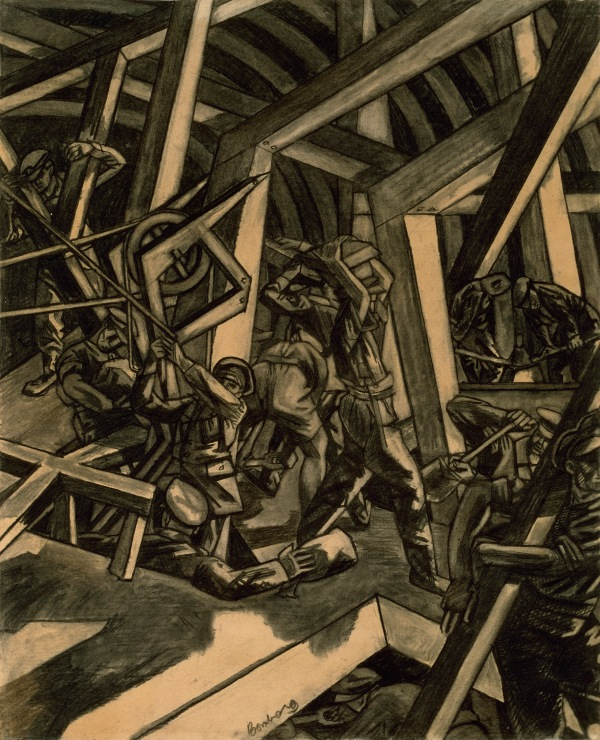 ©IWM (Art.IWM ART 2708) Sappers at Work Canadian Tunnelling Company, R14, St Eloi by David Bomberg, 1918 Charcoal on paper