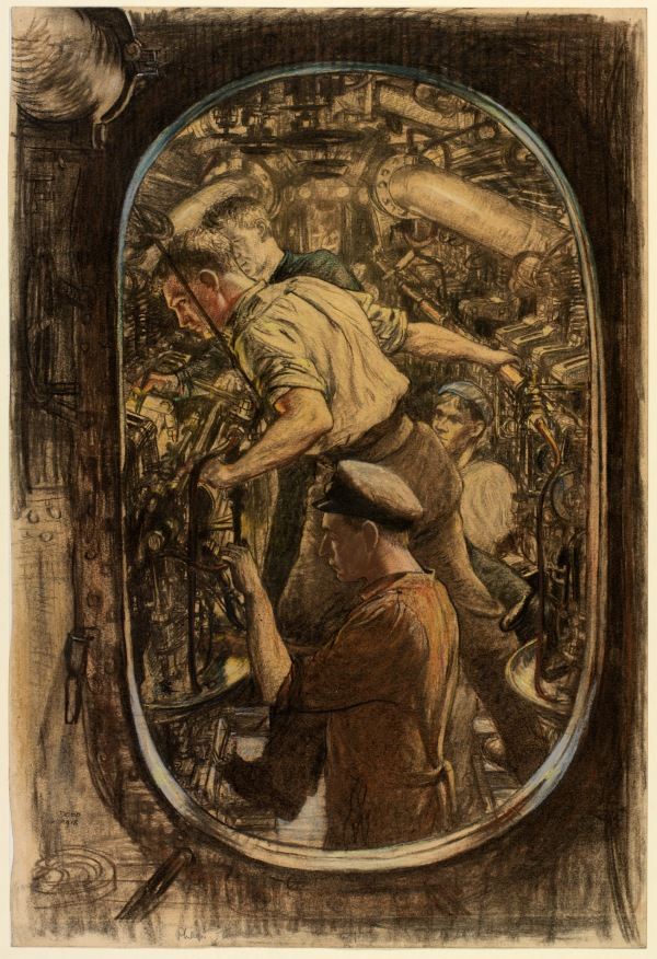 The Engine Room; Repairing a Diesel, HM Submarine by Francis Dodd RA (1918) Crayon and pastel on paper © IWM