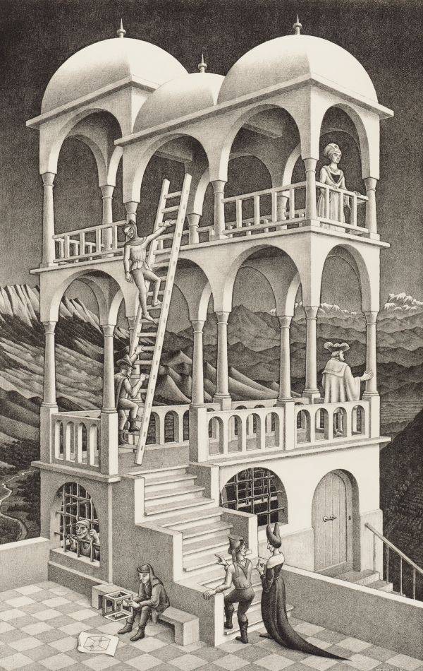 M.C. Escher, Belvedere (May 1958) Lithograph Collection Gemeentemuseum Den Haag, The Hague, The Netherlands