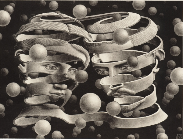 M.C. Escher, Bond of Union (April 1956) Lithograph Collection Gemeentemuseum Den Haag, The Hague, The Netherlands