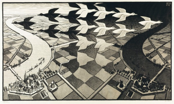 M.C. Escher, Day and Night (February 1938) Woodcut in black and grey Collection Gemeentemuseum Den Haag, The Hague, The Netherlands