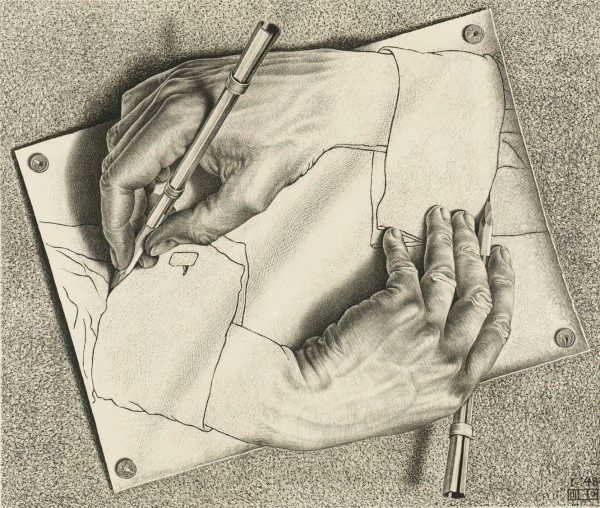 M.C. Escher, Drawing Hands (1948) Lithograph Collection Gemeentemuseum Den Haag, The Hague, The Netherlands