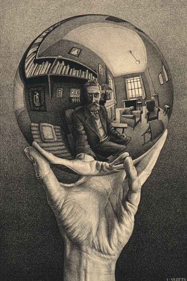 M.C. Escher, Hand with Reflecting Sphere (Self-Portait in Spherical Mirror) (January 1935) Lithograph Collection Gemeentemuseum Den Haag, The Hague, The Netherlands